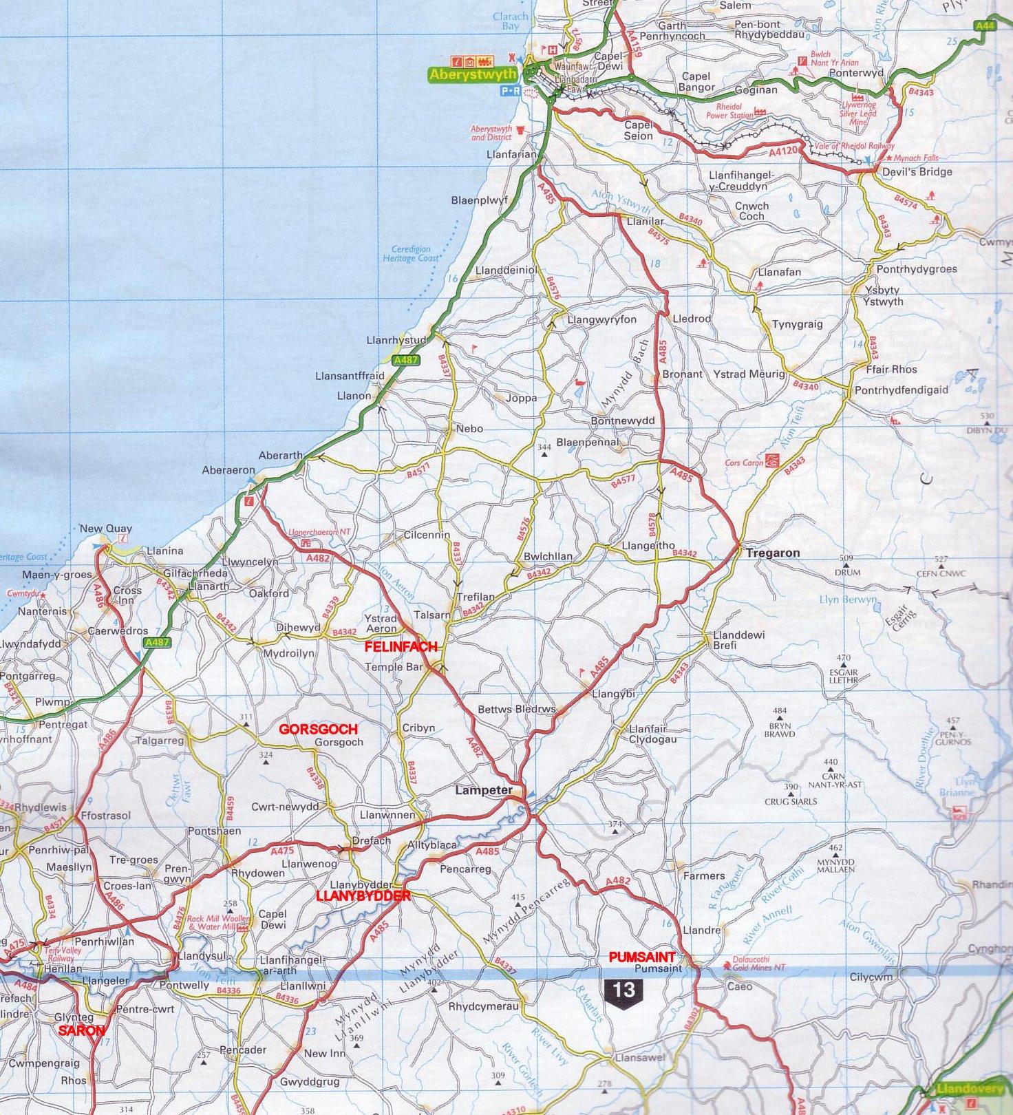 felinfach gorsgoch llanybydder pumsaint saron map reproduced from the 2008 aa road